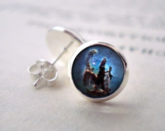 Pillars of Creation Stud Earrings - Tiny Silver Petite Silver Galaxy Studs- Science, Astronomy, Universe, Outer Space, Cosmos, Blue Brown