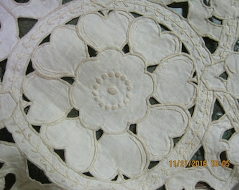 Gorgeous Cutwork Tablecloth or Overlay- Ecru Linen- reduced from 75.00