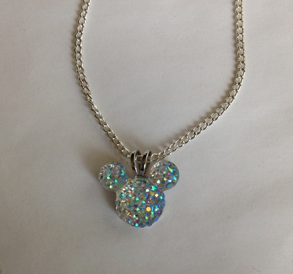 Disney Trip MOUSE EARS Necklace for Wedding Party in Dazzling Clear AB Acrylic