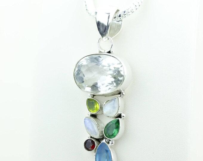 Clear Topaz Blue Topaz Peridot Moonstone Garnet 925 S0LID Sterling Silver Pendant + 4MM Snake Chain & Worldwide Shipping p4009