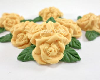 18 Yellow Fondant Flowers, Edible Cupcake Toppers, Sugar Roses Gumpaste, Cake Decoration, Fall Wedding Autumn Cake Bridal Shower Engagement