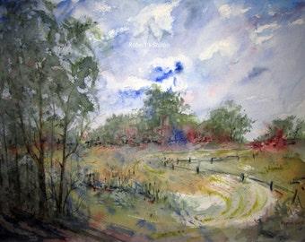 Watercolor Landscape Painting, watercolor painting, watercolor art, archival print, landscape painting, woodland painting, country landscape