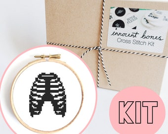 Ribcage Skeleton Modern Cross Stitch Kit Counted - DIY embroidery kit gift - easy chart design - for beginners includes all supplies - ribs