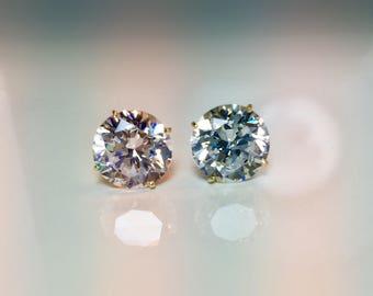 Sale 8mm 14k Gold Stud Earrings, 8mm Cubic Zirconia Stud Earrings, 14k stud Earring, Bling Stud Earrings