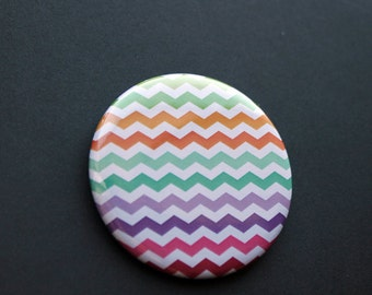 Lined or ZigZag Colorful Buttons | 2.25 inch Buttons: Pocket Mirrors, Pinback Buttons or Magnets