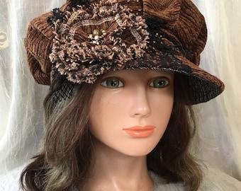 Ooak newsboy cap  brown black  tatiana123
