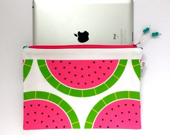 Watermelon Large Recycled Zipper Pouch, Modern Eco iPad Bag + Glass Bead Tassel, Handmade Bag, Summer Travel Organizer, Gift for Her