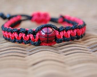 Black and Red Basketball Bracelet