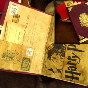 Livre inspiré de Gryffindor: Journal intime ( carnet secret ) fait main - Pages couleur parchemin - Inspiration Harry Potter - Scrapbooking