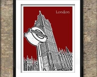London Art Print Skyline Poster A4 Size Big Ben Houses of Parliament London Underground Sign England