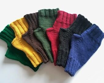 Men's Hand knit fingerless gloves ideal for dog walking