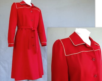 Red Trench Coat, Vintage Bonders Polyester Raincoat, Modern Size 8, Small