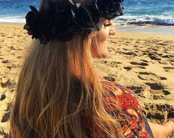 Black rose flower crown headband, Dark plum or black roses