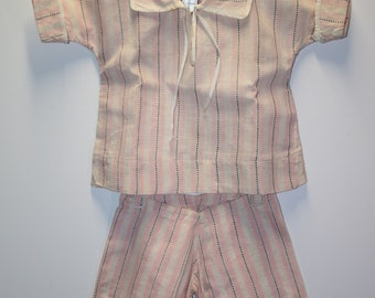 Doll clothes; top and bottoms; larger size doll; linen; faded; pajamas