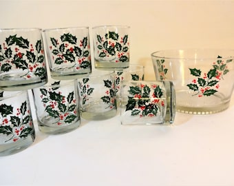 Vintage Indiana Glass Holly and Berries Ice Bucket with 8 Rocks or Old Fashioned Glasses - Mid Century Christmas Barware
