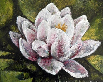 Palette knife oil painting. Water lily, lotus