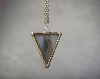 triangle necklace, glass geometric pendant, gift mom, soldered tin jewelry, gift for wife, boho necklace