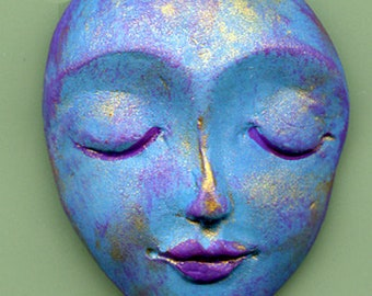 "Art Doll  Face  Cab  Polymer Clay Larger 1 3/4""    Abstract   TDF 1"