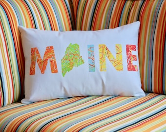 Maine Hand Painted Pillow