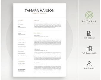 modern resume template professional cv template for word instant download 1 and 2 - Professional Resume Template