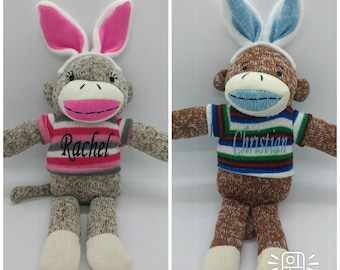 Personalized Easter Sock Monkey