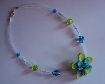Blue Green mesh Flower necklace