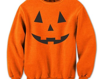 Adult Pumpkin Face Funny Humor Costume Orange Crewneck Sweatshirt