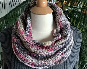 PInk, Gray & Cream Hand Knit Chunky Cowl, Neckwarmer, Neckwarmer Scarf, Pink Cowl, Textured Cowl, For Her, pink gray cowl, Womens pink cowl