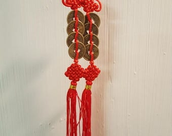 Feng Shui Chinese 8 Coin Good Luck Charm for Happy Marriage and Partnerships of all kinds