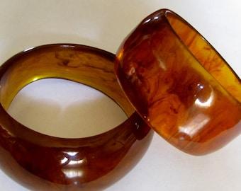 Bakelite Amber Bracelets Bangles Chunky Large Vintage Jewelry (2) 64 and 79 grams