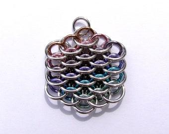 Chainmaille Pendant, Pastel Jewelry, Multicolor Necklace, Mini Dragonscale Pendant