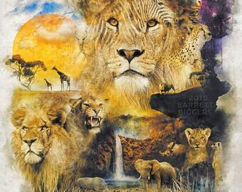 Lion Africa nature animal surrealism landscape digital art signed premium quality giclée print