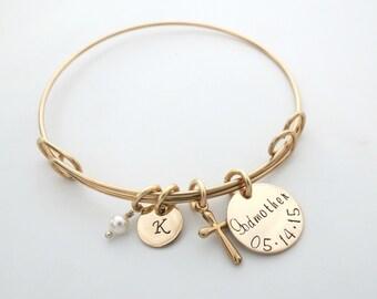 Custom Godmother Bracelet - Personalized Gold Bangle - Aduela - First Communion - Personalized Jewelry - Godchild - Baptism - Name