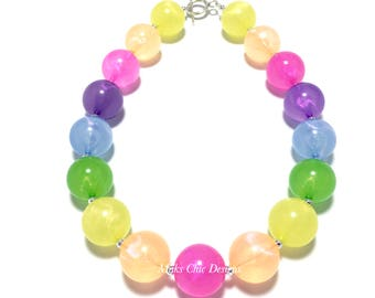 Toddler or Girls Neon Rainbow Chunky Necklace - Pink, Orange, Yellow, Green, Blue, Purple Necklace - Jelly Necklace - Girls Gumball Necklace