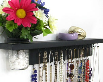 Jewelry Storage with shelf and wall vase