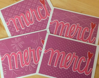 Merci thank you cards. French thanks. France, Fuscia, pink, purple, hand embossed background. Customization available