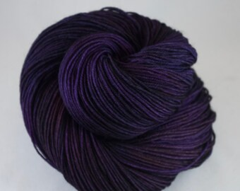 Hand Dyed Sock Yarn, hand dyed wool, variegated sock yarn, nylon sock yarn, purple, black