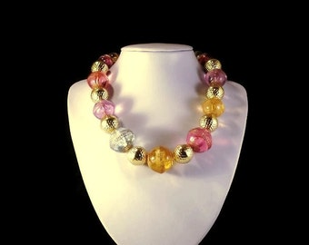 Colorful Single Strand Pastel Multi-Color Chunky Bead Necklace Spring Summer Occasions Free Shipping to USA