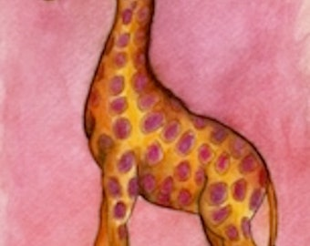 "Purple Girraff-Original Art by SQ Streater-5"" x 7"" Watercolor"
