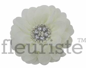 "Extra Lrg 5"" IVORY Chiffon Flower, Rhinestone Flower, Wholesale Flower, Fabric Flower, Headband Flower, Flower Embellishment, DIY flower"