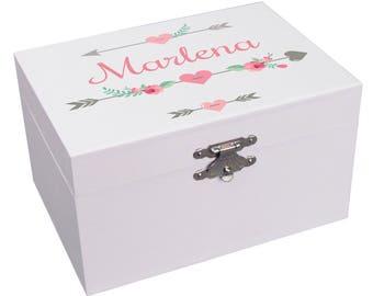 Personalized Arrow Music Box Custom Ballerina Jewelry Box for Girls in Mint Blush  Pink Gray Aqua Tribal Floral Arrows Feathers JEWEA-334