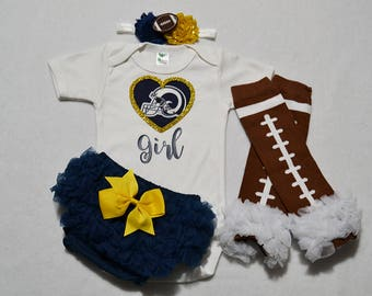 los angeles rams baby girl outfit - baby girls rams outfit - girls rams football outfit - los angeles rams baby gift - rams football baby