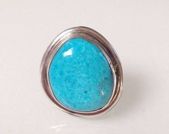 Navajo Turquoise Sterling Silver Native American Ring Size 8 Signed Chimney Butte