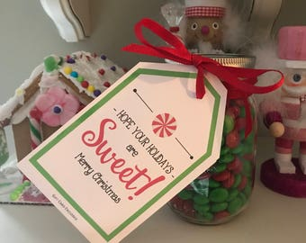 Hope your Holidays are Sweet! Christmas Gift Tags and Gift Card Enclosures.  Can be Personalized (for small fee) Printable Download.