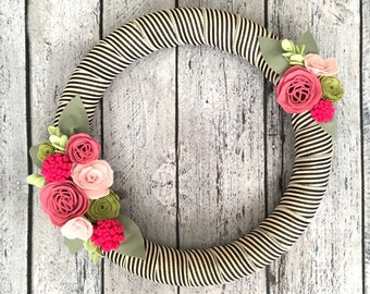 """Spring Wreath, Felt Flower Wreath with Rose and Pink Flowers, Summer Wreath, Pink Cabbage Rose, Black and White Striped Ribbon, 18"""""""