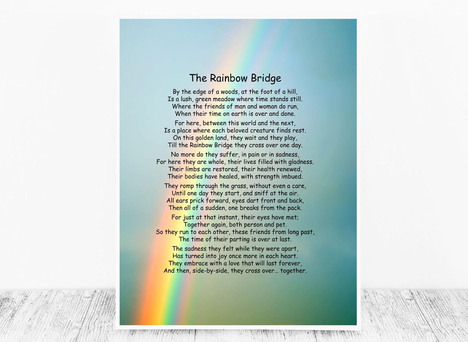 picture about Poem Rainbow Bridge Printable referred to as Rainbow Bridge Poem Printable Edition: Doggy Memorial Poem