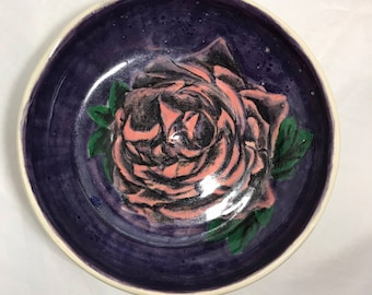 Hand Painted and Glazed Ceramic Rose Bowl