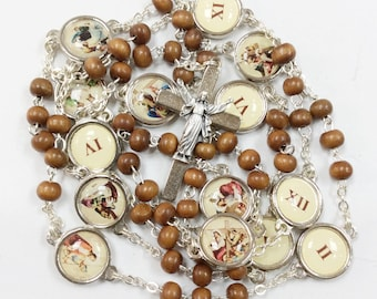 Station of the cross rosary, catholic rosary, way of Cross rosary, rosary beads, resurrection cross