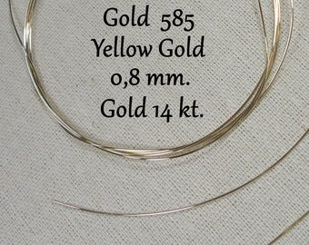 Gold wire/14 kt, 585. Solid,./0.8 mm. yellow gold! 5 cm, long, yellow gold wire! Solid)
