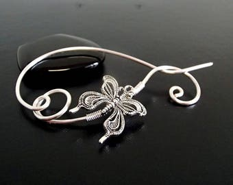 Butterfly Shawl Pin, Scarf Pin, Sweater Brooch, Knitting Accessories, Silver Wire pin
